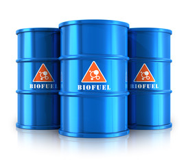 Blue biofuel barrels