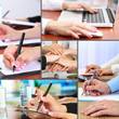 Collage of business people hands in different situations