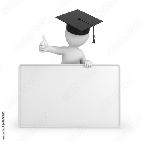 graduate with thumb up. 3d image with a work path