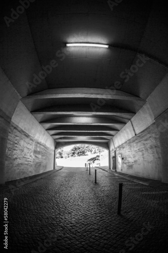 In de dag Tunnel Light at the end of tunnel black and white