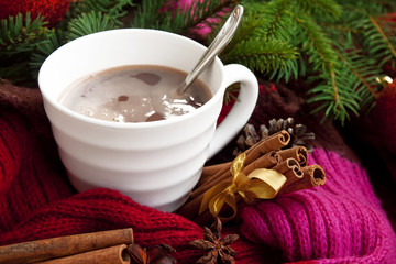 Cup of chocolate with spices wrapped in scarf