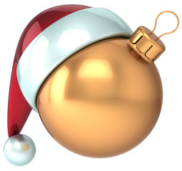 Happy New Year Christmas ball gold bauble Santa hat icon