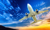 Airplane transportation. Jet air plane flies in blue sky - 58043246