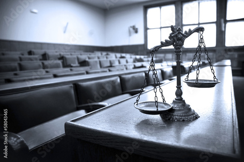 Leinwanddruck Bild Decorative Scales of Justice in the Courtroom