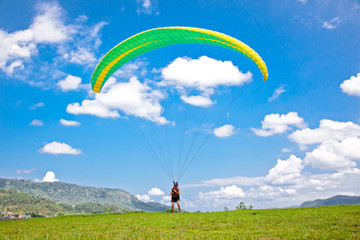 Paragliders prepareing for the flight in Pokhara, Nepal.