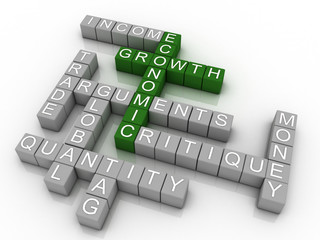3d Background concept wordcloud illustration of economic growth