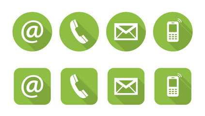 Set of web green flat icons, two variants - Contact Us