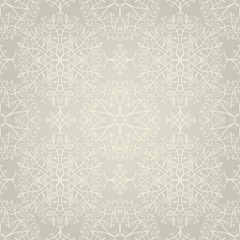 Seamless lace pattern with swirls and leaves