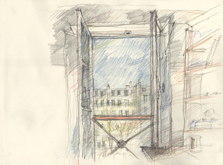 Sketch of a window in Paris from interieur