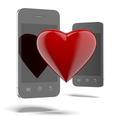 Two phones with red heart