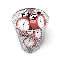 alarm clocks in the trash