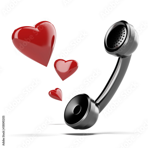 handset with love heart