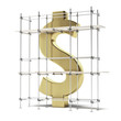 golden dollar sign with scaffold