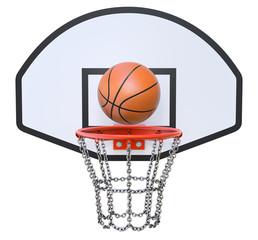 Street basketball kit with backboard, hoop, chain net and ball