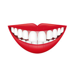 Beautiful smiling mouth with beautiful healthy teeth isolated