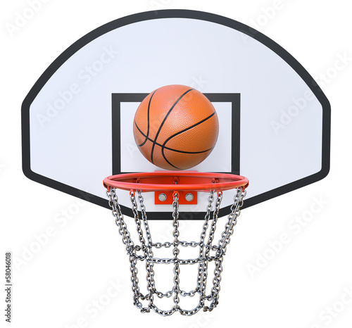 Street basketball kit with backboard, hoop, chain net and ball