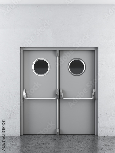 White swing doors