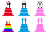 wedding cakes with couples, vector set