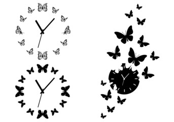 time flies, butterfly clocks for wall art, vector set