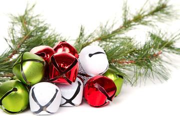 Christmas jingle bells and pine branch