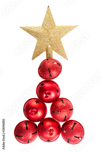 Jingle bells shaped like a Christmas tree