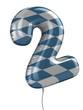 number 2 balloon 3d illustration