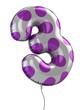 number 3 balloon 3d illustration