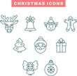 Set of Christmas icons in line flat design style