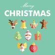 Set of colorful flat design Christmas icons