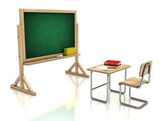 classroom chair desk and blackboard