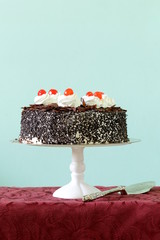 Chocolate cake with cherries and whipped cream (Black Forest)