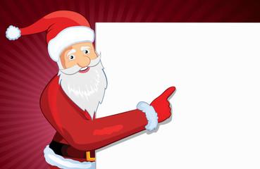happy Christmas Santa holding blank banner