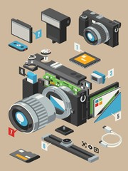 exploding camera,vector insides of a camera