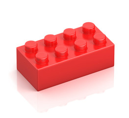 single red building block isolated on white