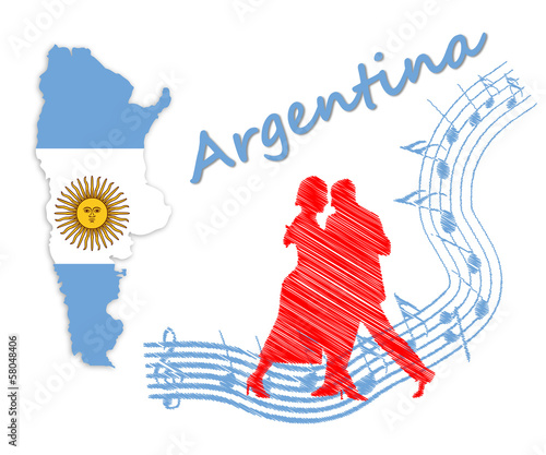 Map and flag of Argentina, next to a couple dancing tango