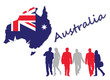 Map and flag of Australia next to silhouettes