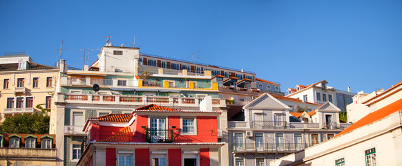 View of differents buildings in Alfama, Lisboa
