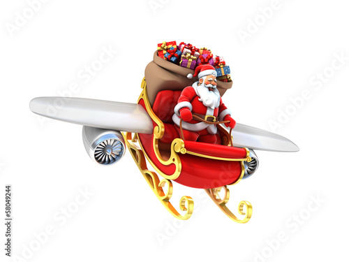 Santa Claus on sleigh with wings and jet engines