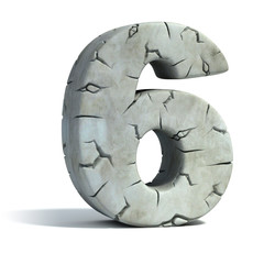 number 6 cracked stone 3d font