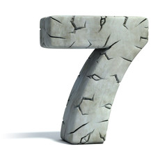 number 7 cracked stone 3d font