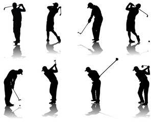 Set of golf silhouettes-vector illustration