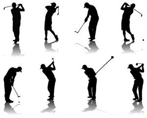 Set of golf silhouettes-vector illustration