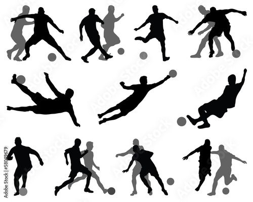 Silhouettes of football players-vector illustration