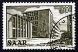 Postage stamp Saar, Germany 1953 Ludwig's Gymnasium poster