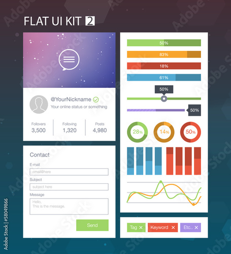 Flat User Interface Kit for web and mobile 2