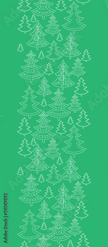 Vector doodle Christmas trees vertical seamless pattern