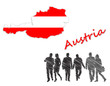 Map and flag of Austria next to silhouettes