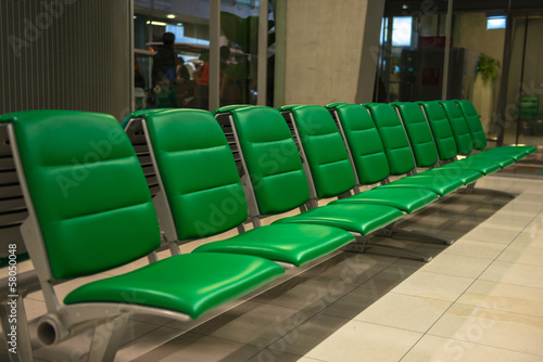 Empty seats in airport lounge
