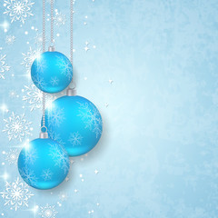 Christmas vector background with blue balls