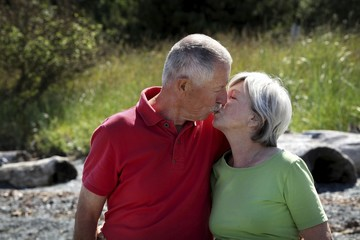 Happy old couple outside